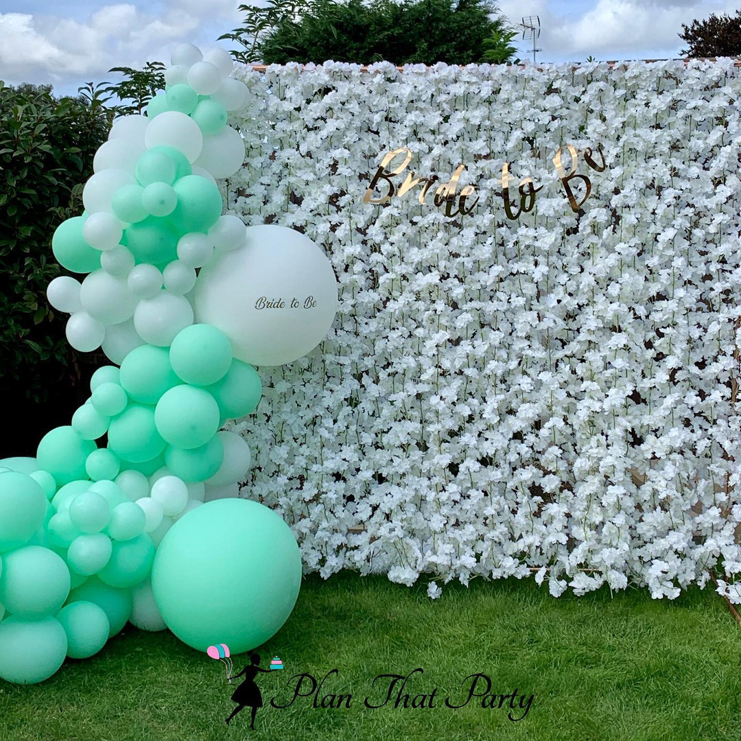 White and Mint Balloons & Blossom Wall