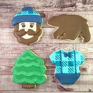 Bearded lumberjack baby shower cookies f