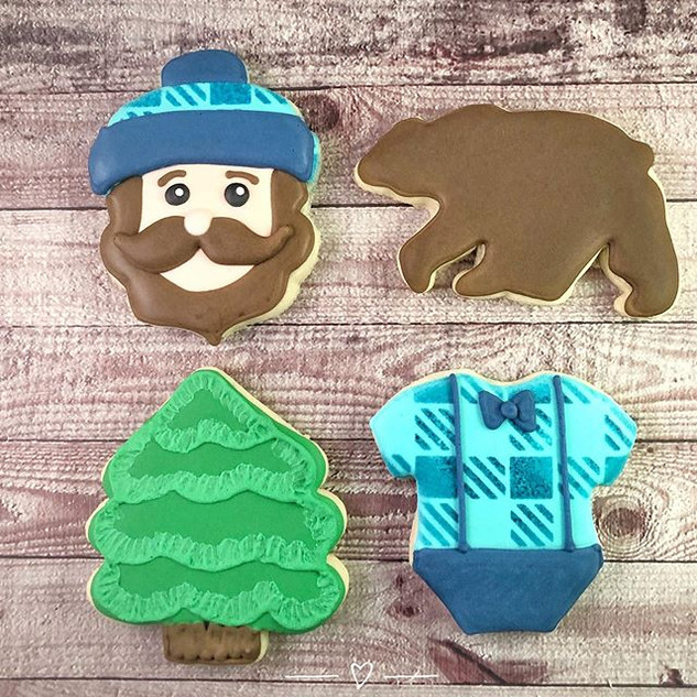 Bearded lumberjack baby shower cookies f