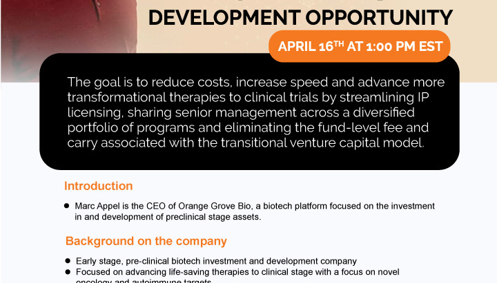 Upcoming Webinar for Pre-Clinical Biotech Development Opportunities on April 16th at 1 PM EST.