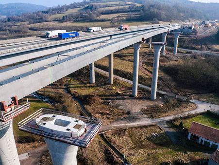 Drohnen-Luftbild: Bau der neuen Sinntalbrücke, Bayern