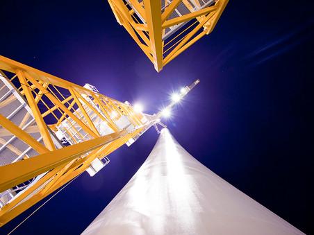 Industriefotografie: Montage des Hybridturms Max Bögl im Windpark Bischberg