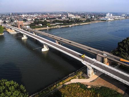 Drohnen-Luftbild: Neubau der Rheinbrücke Worms, Rheinland-Pfalz