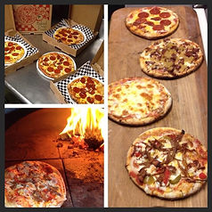 Mobile wood fired pizza oven on display