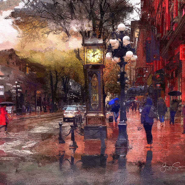 Gastown Steam Clock Rainy Day, PAINTED