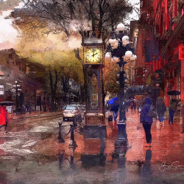 Gastown Steam Clock Rainy Day, PAINTED E