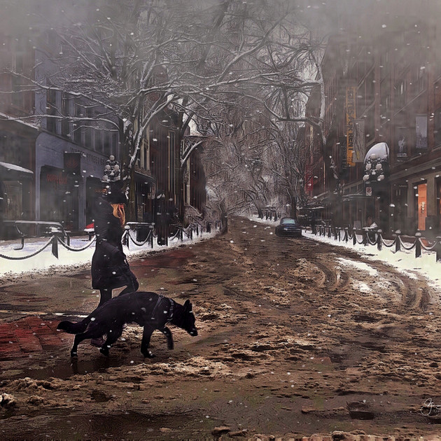 Old Gastown, Girl & Dog Winter Street_