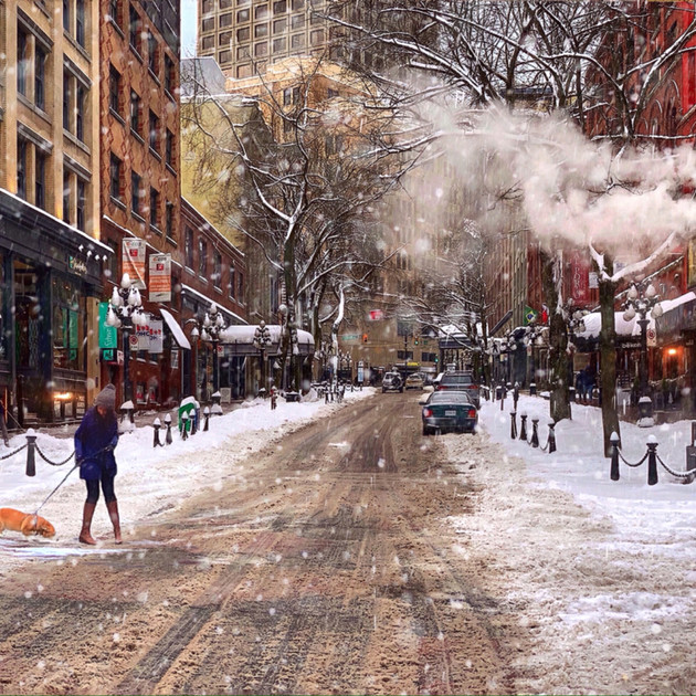 Scenic Gastown, street scene, after snow.