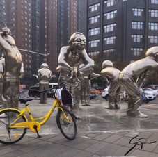"Original ""Laughing Men"" sculpture, Beijing."