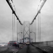 Lions Gate Bridge in fog.  Vancouver.