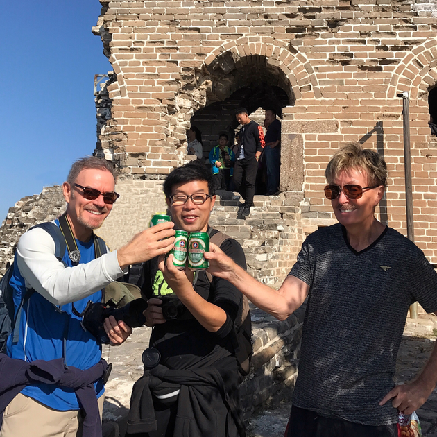 Beer refreshment on the Great Wall.