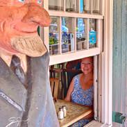 Happy customer at Pioneer Inn bar_