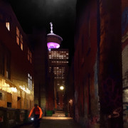 Alley at night, Gastown, Vancouver.