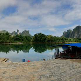 View of karst mountains from a traditional village, near Yangshuo, China.