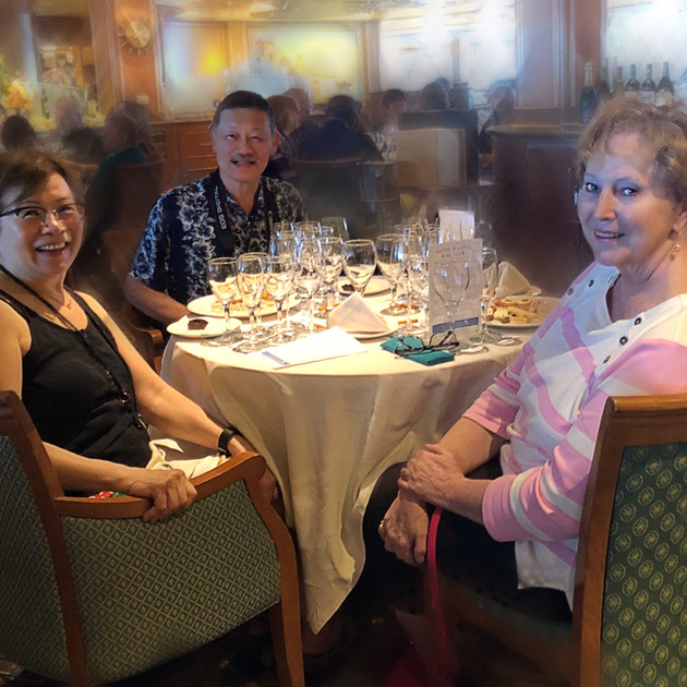 Wine tasting on a cruise ship. Hawaii.