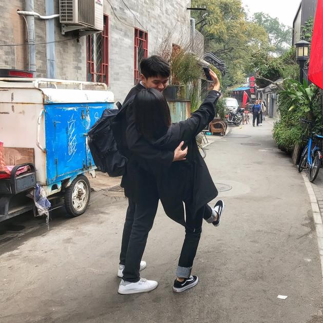 Playful young couple, Beijing.