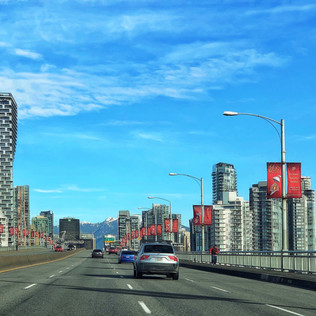 Changing skyline in Vancouver, viewed from Burrard St. bridge