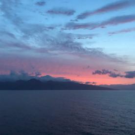 View from cruise ship approaching Hawaiian island of Kauai.