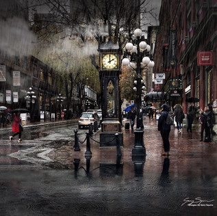 Rainy night in Gastown, Vancouver.