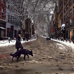 Girl and dog street scene, Gastown, Vancouver.
