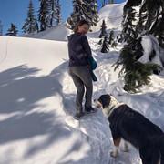 Girl and dog hiking, Seymour Mt., Vancouver.