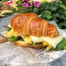 Scambled egg croissant sandwich.