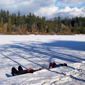 Sun bathing in the snow, Lost Lagoon.