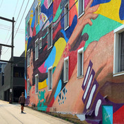 Wall art, alley near Main Street, Vancouver.