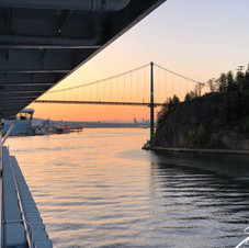 View of Lion's Gate Bridge from stateroom on cruise ship.