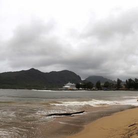 Stormy beach, Hawaii.
