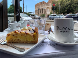 Coffee and pie, caffe, view of Coloseum_