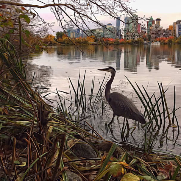 Blue Heron and City Skyscape, Autumn, Va