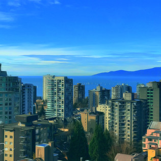 View of English Bay from West End apartment.  Vancouver.