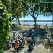 View from patio cafe. Summer at English Bay, Vancouver.