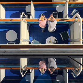Cruise ship, view of stateroom balconies.