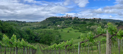 View to walled town of San Gimignano.