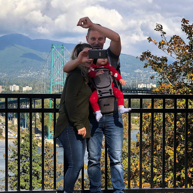 A family selfie at Prospect Point, Vancouver.