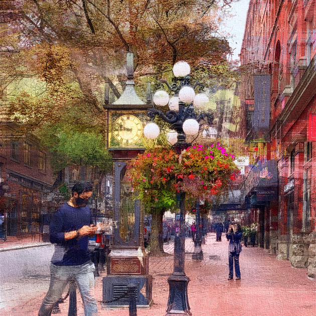 Gastown Steam Clock, Autumn Day_