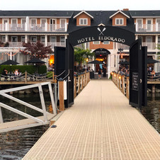 View of hotel in Kelowna, B.C., from the wharf.