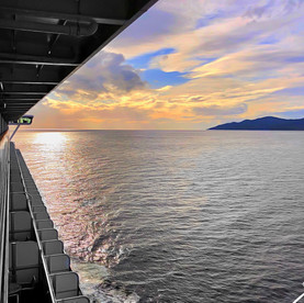 View from stateroom aboard cruise ship, sailing out of Vancouver.