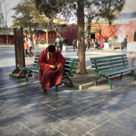 Buddhist monk with cell phone. Lama Temple, Beijing.