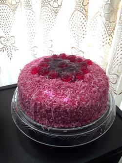 Chocolate Raspberry & Coconut Cake