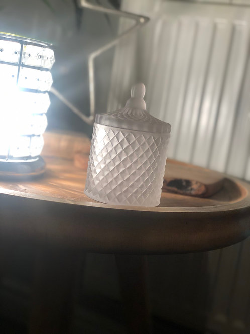 Frosted Grey Geo Candle - Linen Fresh