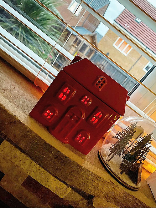 Small house tealight burner -Red