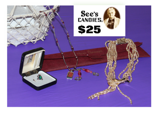 Jewelry & $25 See's Candy Gift Card