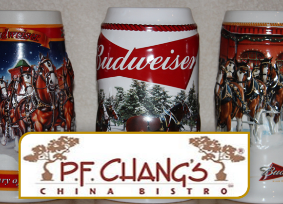 Budweiser Collector Steins & $50 P.F. Chang Gift Card