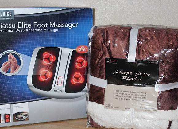 Foot Massager & Sherpa Blanket