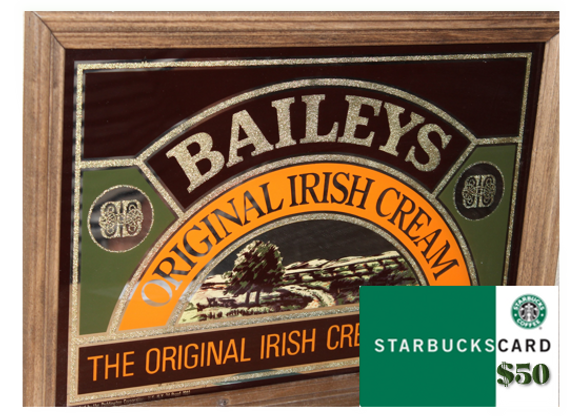 Bailey's Bar Mirror & $50 Starbucks Gift Card