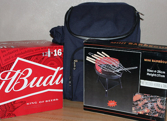 Backpack Cooler w/12pk Budweiser & Mini BBQ