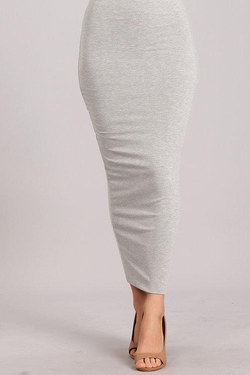 Bodycon jersey knit maxi skirt- Heather Gray